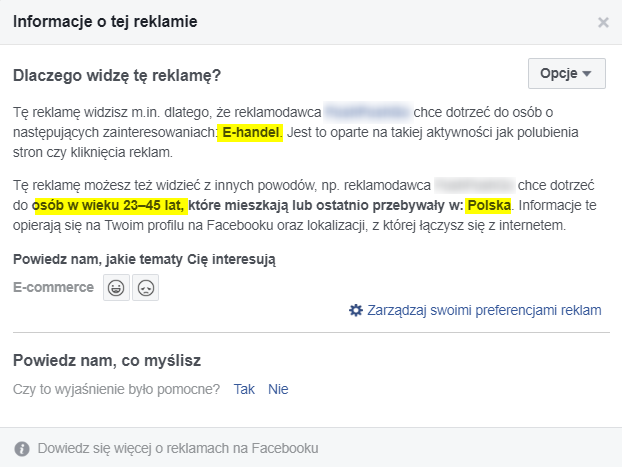 jak analizować reklamę na FB