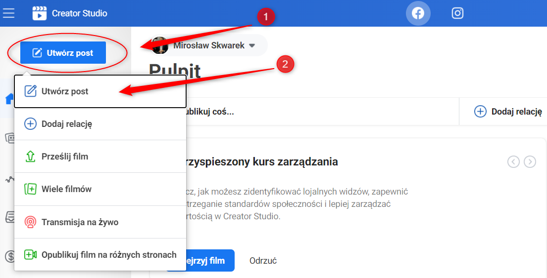 dodawanie postu creator studio